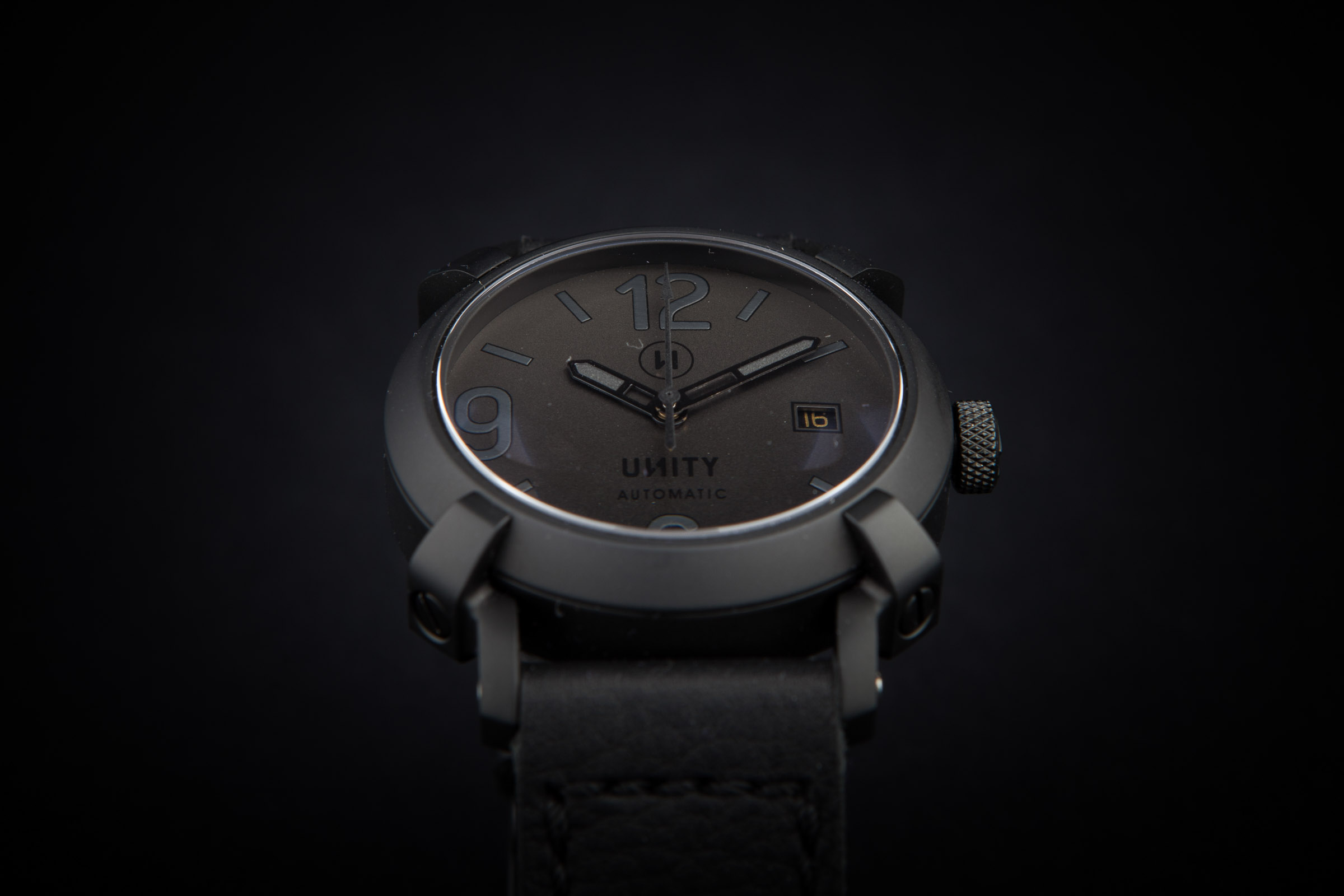 303638f4d All black automatic watch | Unity Watches